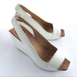Patent Leather Wedge Platform Slingback Shoes